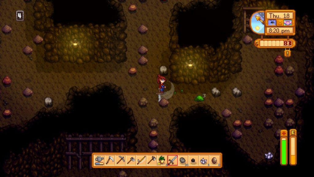 Mining in Stardew Valley. Pro tip: don't let yourself faint down there! It's not good!