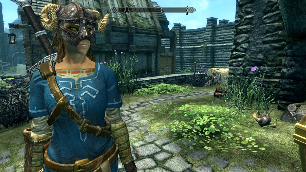 Champion's Tunic in action. We love seeing bits of the Zelda universe in the world of Skyrim.