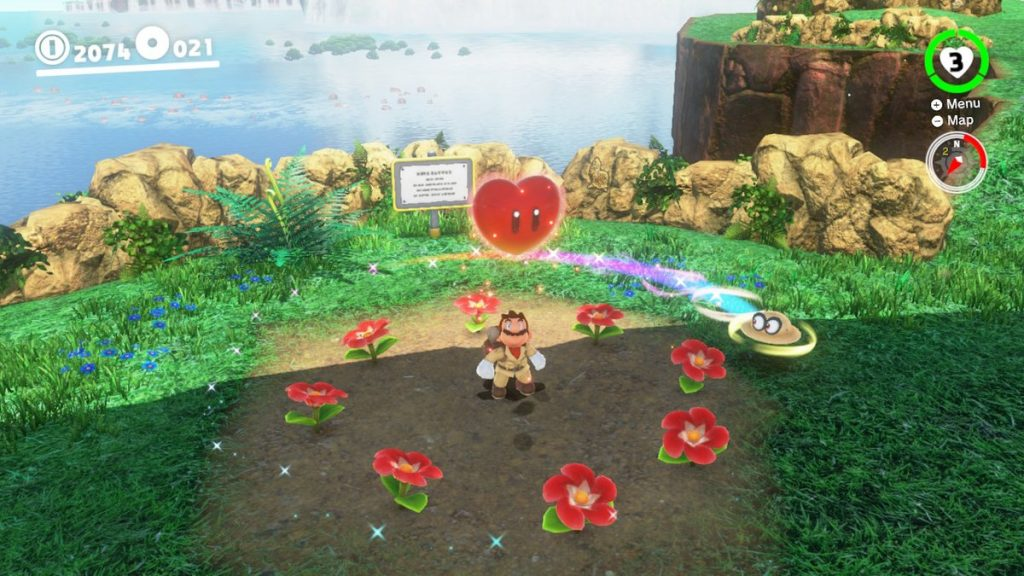 We flicked our controller to send Cappy in a circle, causing these flowers to bloom and a bonus to appear!