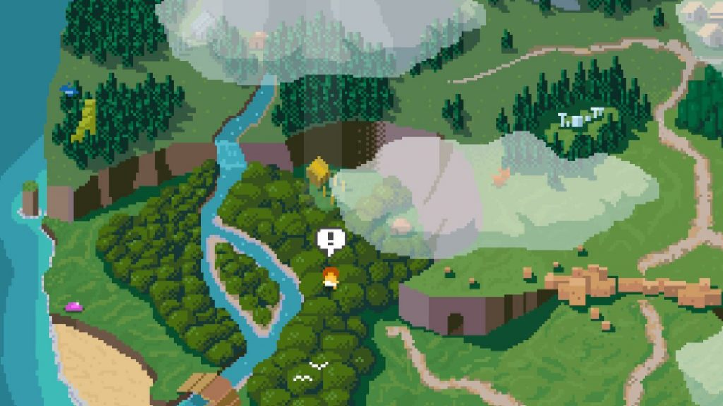 The overworld map in Elliot Quest.