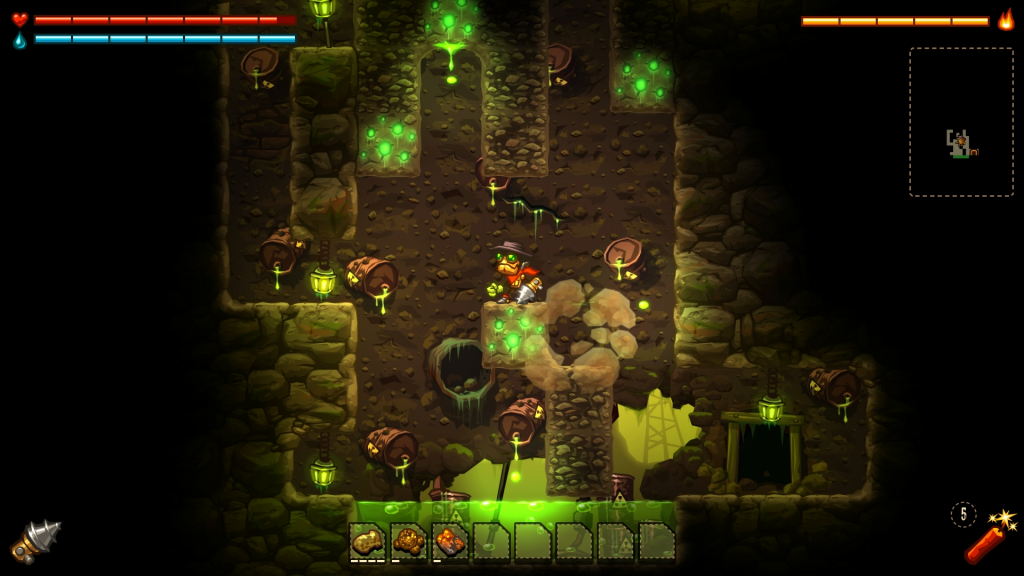 Here's a peek into the acid-themed level of SteamWorld Dig!