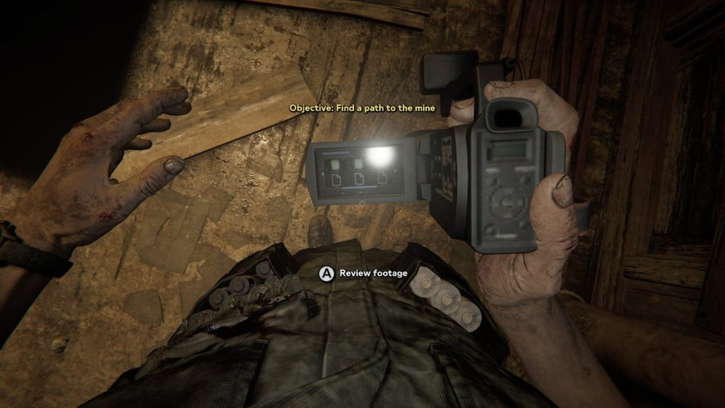 Your batteries and bandages are kept in your pockets. When you look down, you can see your inventory; you can also check your camcorder and refresh yourself on your objective.