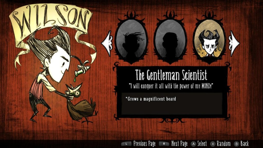 The character selection screen outlines the perks and any downfalls the character may have.