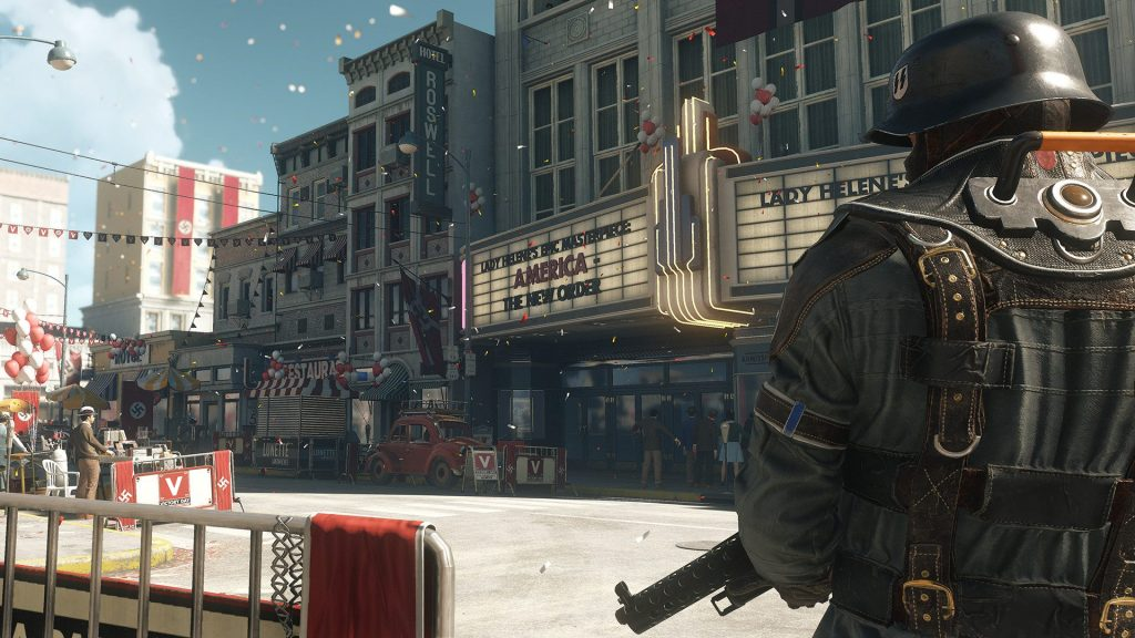 The U.S. under Nazi control is a frightening sight. Fight against it in Wolfenstein 2 on Switch!