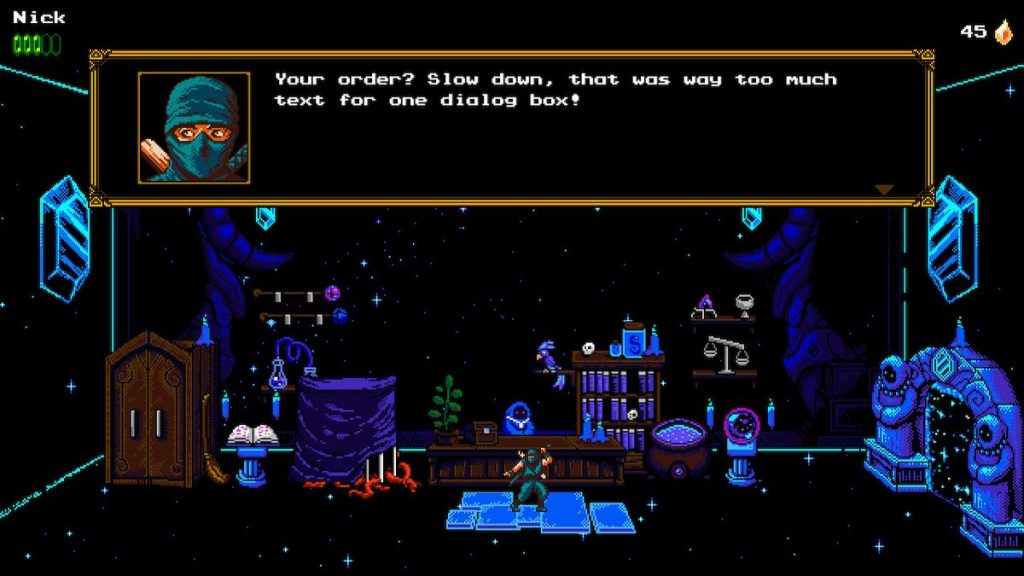The shopkeeper's hilarious dialogue is some of the game's best. The shopkeeper can offer hints for a fee.