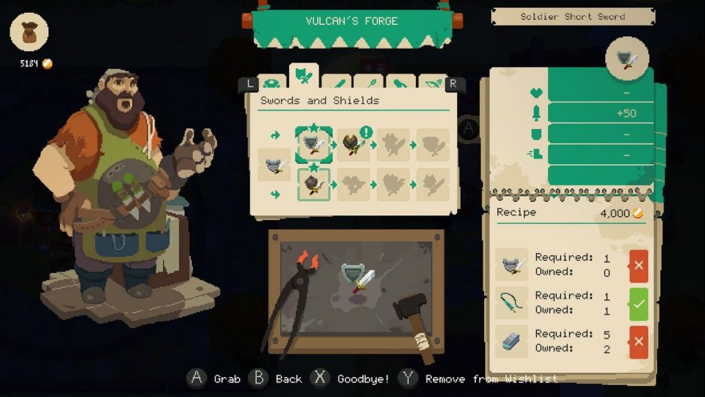 As you play, you'll collect items needed to craft new weapons.