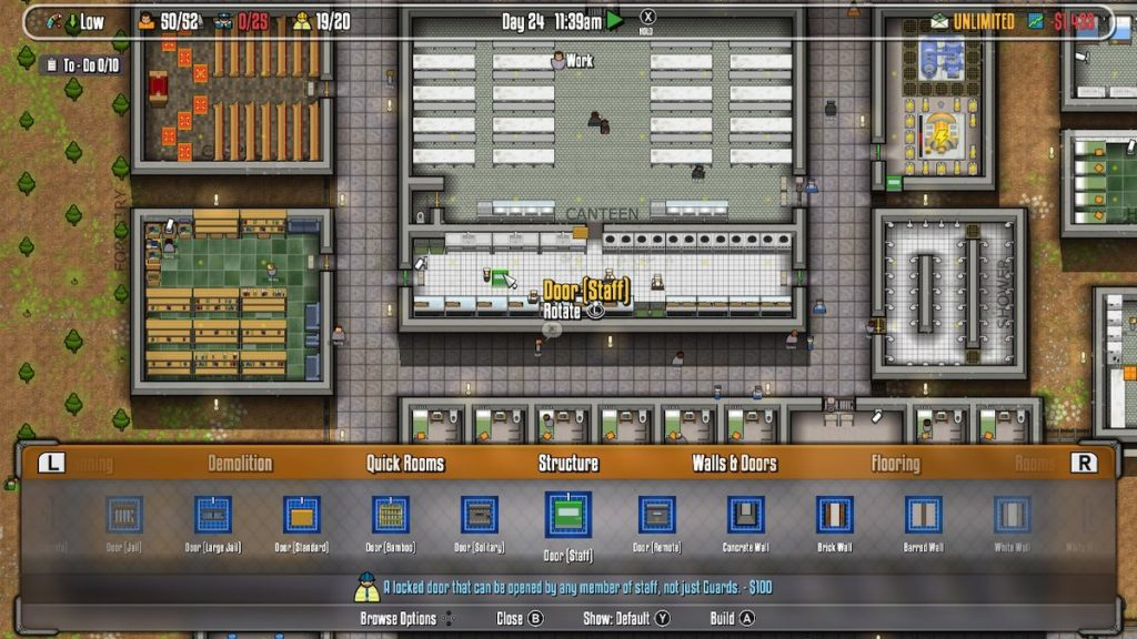 Prison Architect lets you design and run your own prison.
