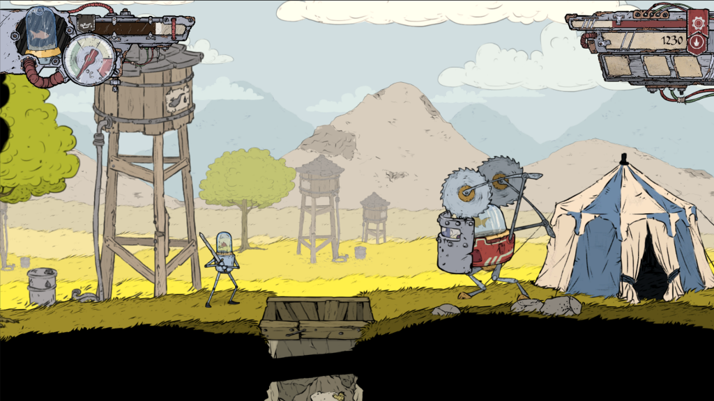 The hand-drawn graphics are Feudal Alloy's greatest highlight.