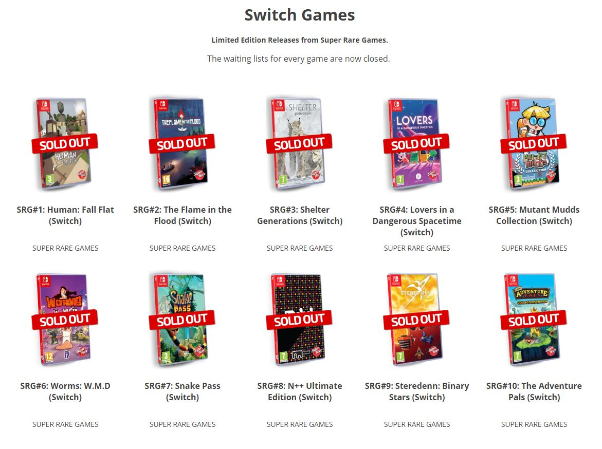 Super Rare Games sold out
